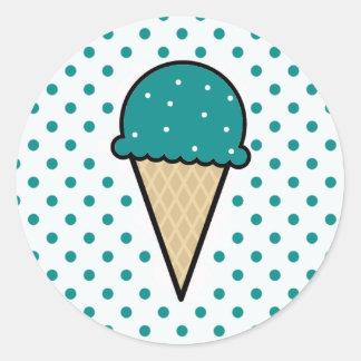 ティール(緑がかった色)の緑のアイスクリームコーン ラウンドシール