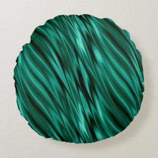 ティール(緑がかった色)の緑の膚触りがよい波 ラウンドクッション