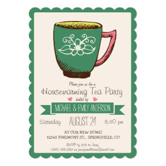 ティール(緑がかった色)の緑及びピンクのレトロの引っ越し祝いパーティーのお茶会 カード