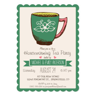 ティール(緑がかった色)の緑及びピンクのレトロの引っ越し祝いパーティーのお茶会 12.7 X 17.8 インビテーションカード