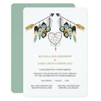 ティール(緑がかった色)の羽の矢のDreamcatcherの結婚式 カード