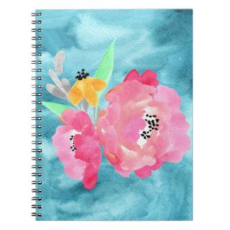 ティール(緑がかった色)の背景のかわいらしい花場面 ノートブック