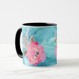 ティール(緑がかった色)の背景のかわいらしい花場面 マグカップ