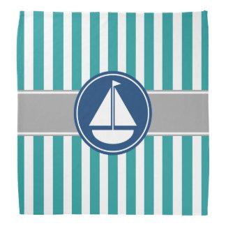 ティール(緑がかった色)の航海のなヨットは縞で飾ります バンダナ