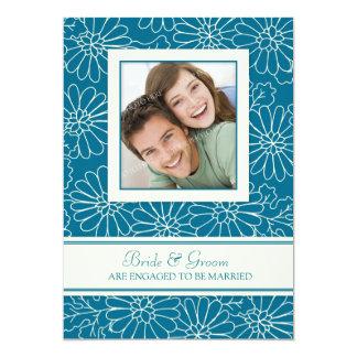 ティール(緑がかった色)の花の写真の婚約パーティの招待状 12.7 X 17.8 インビテーションカード