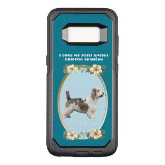 ティール(緑がかった色)の花柄の小さいバセット犬Griffon Vendéen オッターボックスコミューターSamsung Galaxy S8 ケース