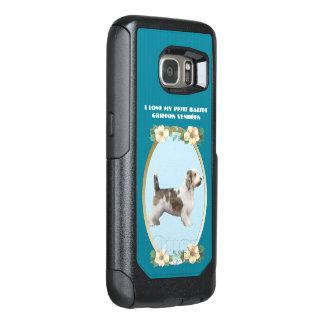 ティール(緑がかった色)の花柄の小さいバセット犬Griffon Vendéen オッターボックスSamsung Galaxy S7ケース