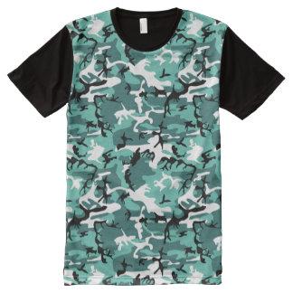 ティール(緑がかった色)の迷彩柄 オールオーバープリントT シャツ