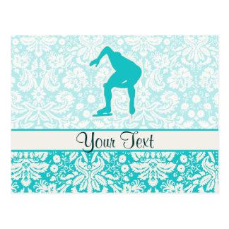 ティール(緑がかった色)の速度のスケート選手 ポストカード