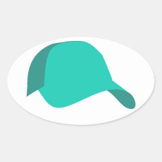 ティール(緑がかった色)の野球帽 楕円形シール