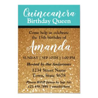 ティール(緑がかった色)の金ゴールドのQuinceañeraの誕生日の招待状のグリッター カード