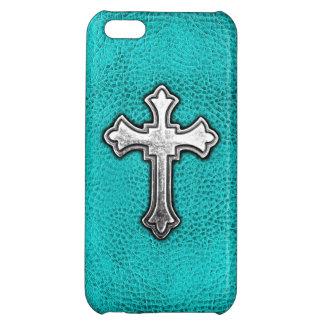 ティール(緑がかった色)の金属の十字 iPhone 5C CASE