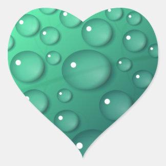 ティール(緑がかった色)の雨滴の質 ハートシール