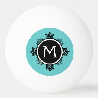 ティール(緑がかった色)の雪片のリースのモノグラム、白い黒 卓球ボール