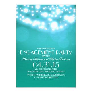 ティール(緑がかった色)の青いひもはヴィンテージの婚約パーティをつけます 12.7 X 17.8 インビテーションカード