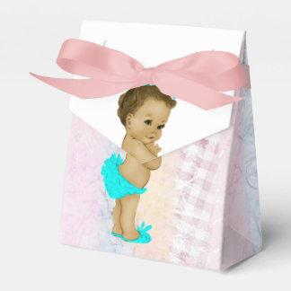 ティール(緑がかった色)の青いアフリカ系アメリカ人の女の赤ちゃんのシャワー フェイバーボックス