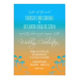 ティール(緑がかった色)の青いオレンジ華麗さの結婚式招待状 11.4 X 15.9 インビテーションカード