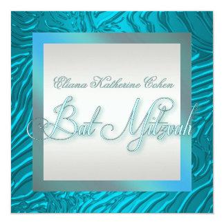 ティール(緑がかった色)の青いシマウマのバルミツワーの招待状 カード