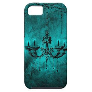 ティール(緑がかった色)の青いシャンデリアのゴシック様式黒 iPhone SE/5/5s ケース