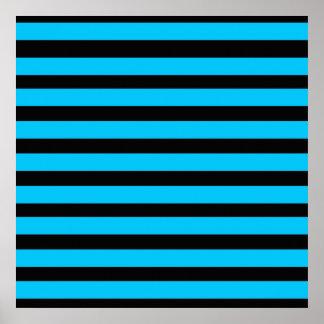 ティール(緑がかった色)の青いターコイズおよび白のストライプパターン ポスター