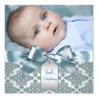 ティール(緑がかった色)の青いダマスク織の男の赤ちゃんの写真の《キリスト教》洗礼式や命名式 13.3 スクエアインビテーションカード