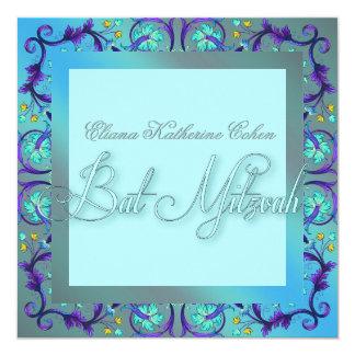 ティール(緑がかった色)の青いバルミツワーの招待状 カード