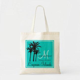 ティール(緑がかった色)の青いビーチ結婚式のヤシの木 トートバッグ