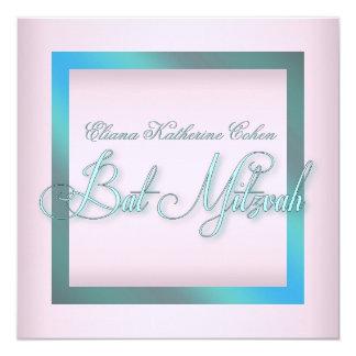 ティール(緑がかった色)の青いピンクのバルミツワーの招待状 カード