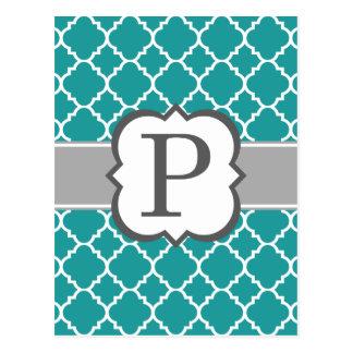 ティール(緑がかった色)の青いモノグラムの手紙Pのクローバー ポストカード
