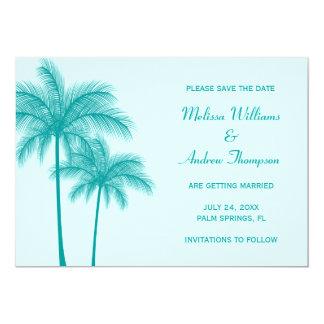ティール(緑がかった色)の青いヤシの木のセーブ・ザ・デート案内 カード