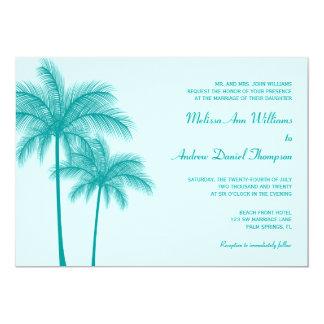ティール(緑がかった色)の青いヤシの木の熱帯結婚式 カード