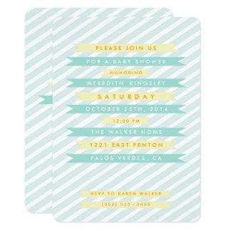 ティール(緑がかった色)の青いヴィンテージの旗のベビーシャワー招待状 カード
