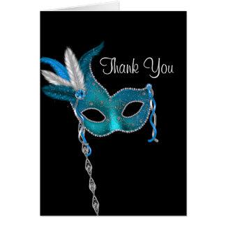 ティール(緑がかった色)の青い仮面舞踏会のパーティーのサンキューカード カード