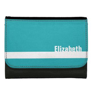 ティール(緑がかった色)の青い名前をカスタムするの白のストライプの革財布 ウォレット