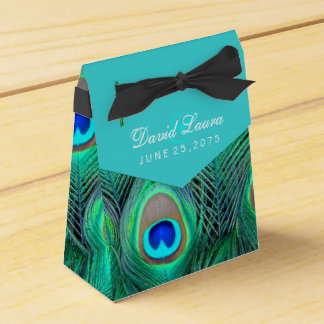 ティール(緑がかった色)の青い孔雀の結婚式 フェイバーボックス