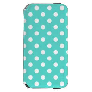 ティール(緑がかった色)の青い水玉模様パターン INCIPIO WATSON™ iPhone 6 ウォレットケース