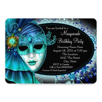 ティール(緑がかった色)の青い真夜中の仮面舞踏会のパーティー カード