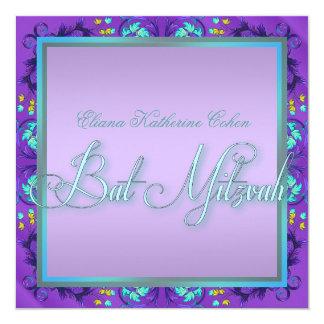 ティール(緑がかった色)の青い紫色のバルミツワーの招待状 カード