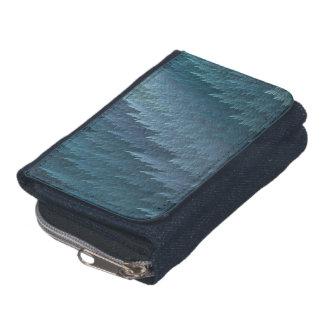 ティール(緑がかった色)の青い羽のタータンチェックパターン