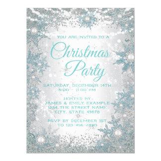 ティール(緑がかった色)の青い雪片のクリスマスのパーティの招待状 カード
