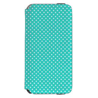 ティール(緑がかった色)の青および白い水玉模様パターン INCIPIO WATSON™ iPhone 5 財布型ケース