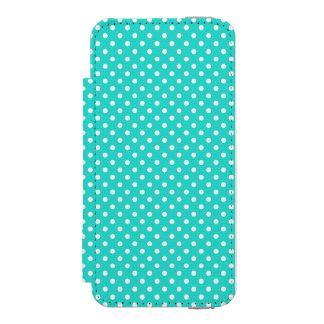 ティール(緑がかった色)の青および白い水玉模様パターン INCIPIO WATSON™ iPhone 5 財布 ケース