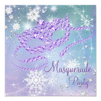 ティール(緑がかった色)の青および紫色の雪片の仮面舞踏会のパーティ カード