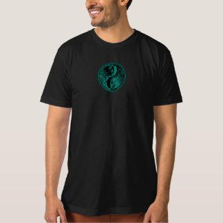 ティール(緑がかった色)の青および黒い陰陽猫 Tシャツ