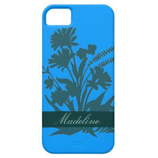 ティール(緑がかった色)の青くカスタマイズ可能な花のiphone 5の箱 iPhone SE/5/5s ケース