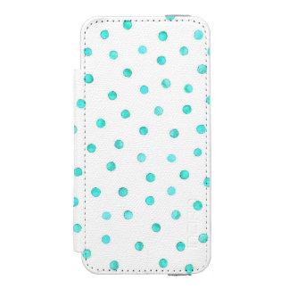 ティール(緑がかった色)の青く白い紙吹雪のドット・パターン INCIPIO WATSON™ iPhone 5 財布 ケース