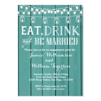 ティール(緑がかった色)の青く素朴な木製の婚約パーティの招待状 カード