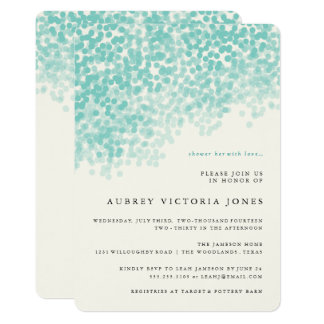 ティール(緑がかった色)の青く軽いシャワーのブライダルシャワー招待状 カード