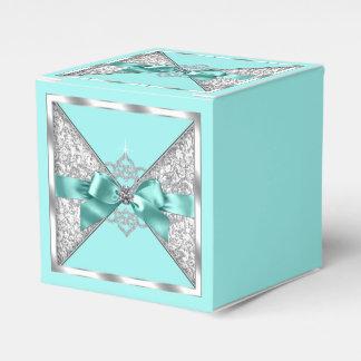 ティール(緑がかった色)の青く、銀製の菓子16 フェイバーボックス