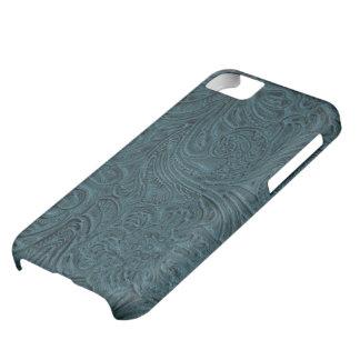 ティール(緑がかった色)の青によって用具を使われるレザールックのカウボーイの国 iPhone5Cケース